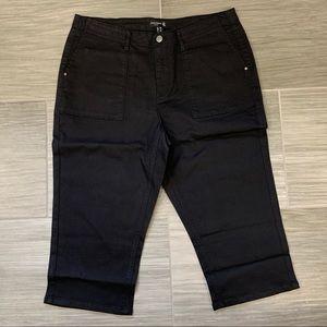 Susan Graver Black Capri Jeans, Petite Size 14